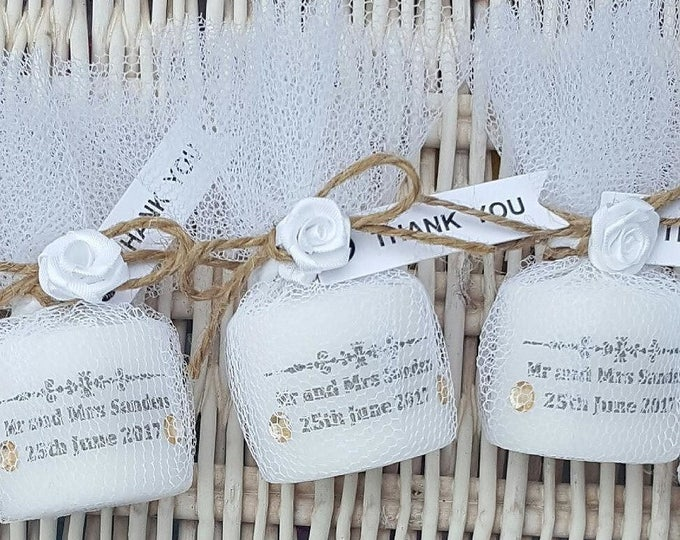 Rustic shabby chic personalised wedding candle favours. Candles in tulle. Thank you gift.