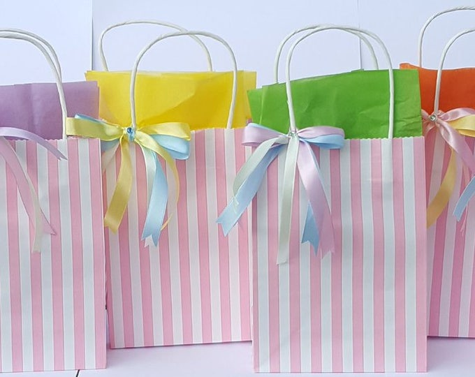 Childrens Candy Striped Party Bags Favour Bags with tissue paper Gift Bag Sleep Over Baby Shower
