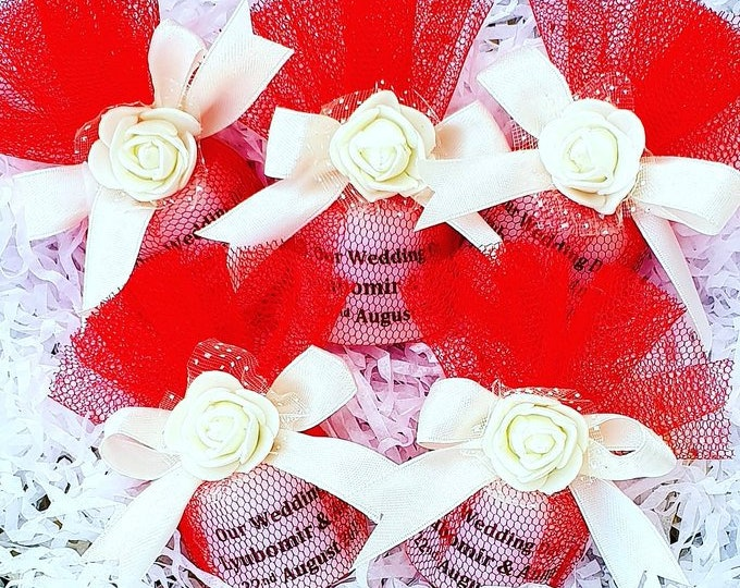 Wedding Favours Personalised Candle wrapped in Tulle Keepsake