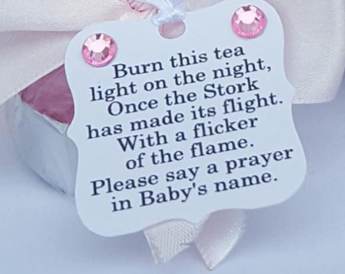 Baby shower tealight candle poem favour tags. Pack of 20.