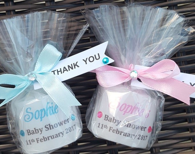 Baby shower candle favours. Personalised.