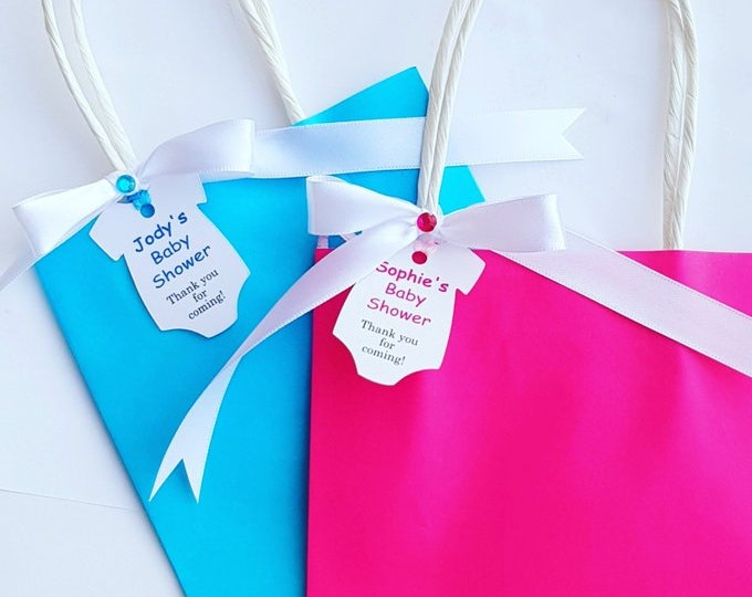 Baby shower Favour Bags Gender reveal Party bags Babygrow tag