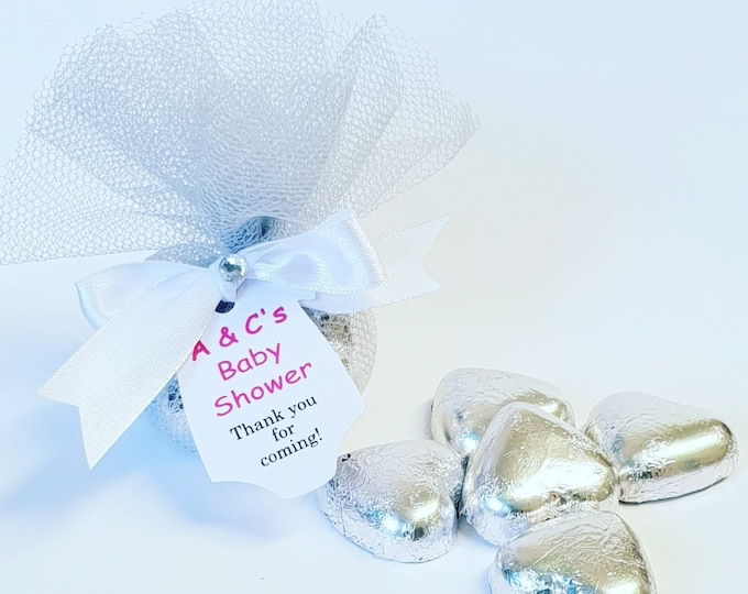 10 x Silver Belgian Chocolate Hearts Baby Shower Favours Gender Reveal Personalised Tag Prefilled Favours