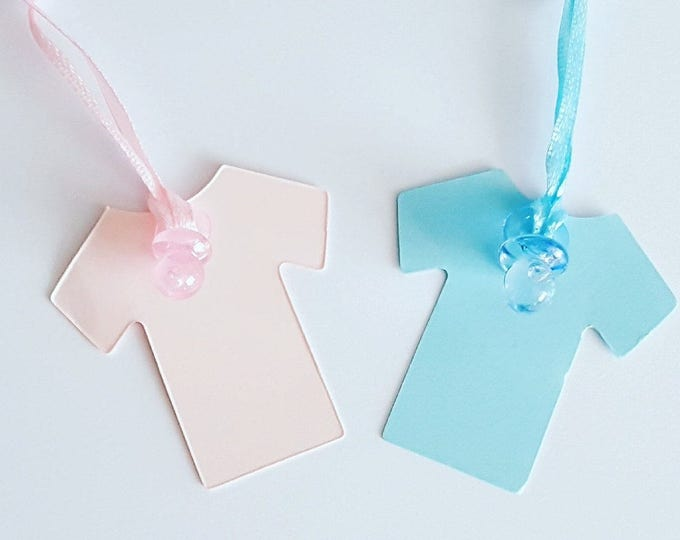10 X Baby Shower Gender Reveal Tags Favour Tags Baby Vest
