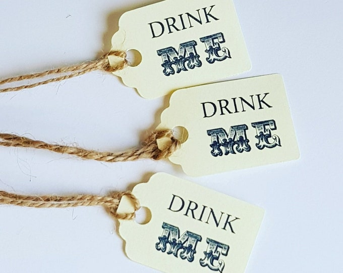 Drink me favour tags pack of 20 Alice in wonderland weddings baby showers Hen party