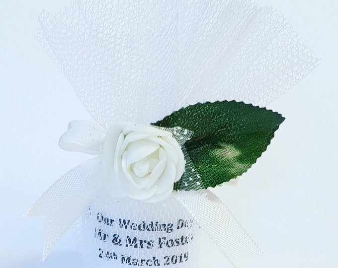 Personalised Wedding Candle Favours Bespoke Bride to Be White Wedding