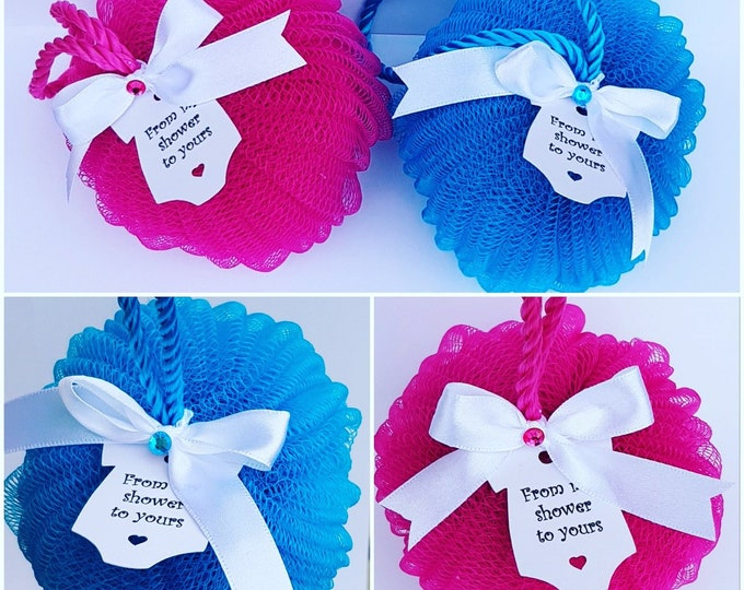 From my shower to yours Baby Shower Favours Body puff Gender reveal Bridal Shower Favours
