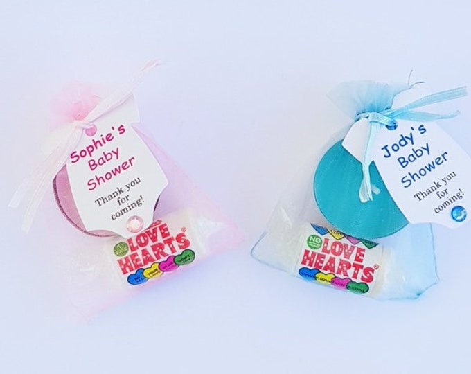 Baby shower favours Tealight candle with Love Hearts Gender reveal Favours