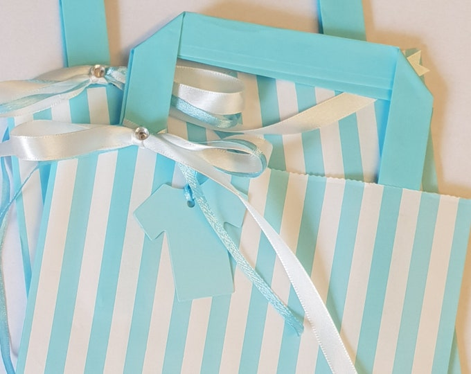 Baby Shower Favour Bags Blue Candy Stripe with Tag