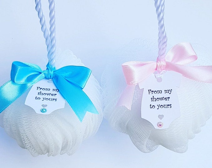 From my Shower to Yours Baby Shower Favours Body Puff Favours Gender Reveal Bridal Shower