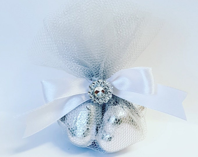 Silver Belgian Chocolate Hearts wrapped in Silver Tulle Wedding Favours Bridal Shower Gifts