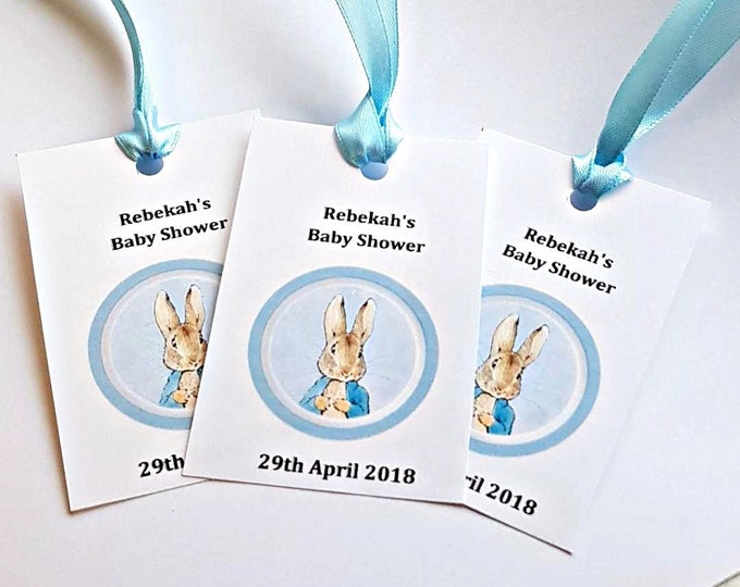 20 Peter Rabbit themed favour gift tags baby shower birthday party