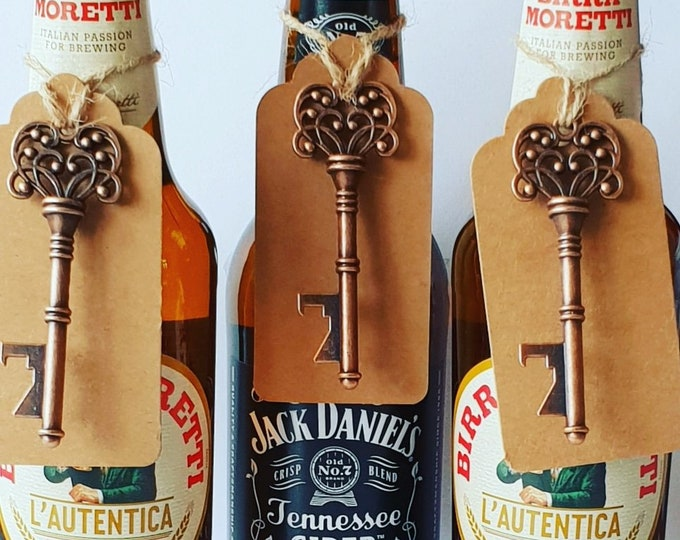 Fathers Day Gift Bronze Skeleton Key Bottle Opener with Tag Grandad Keepsake