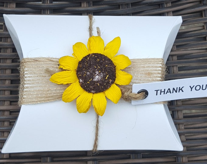 10 Wedding  baby shower party pillow box favours . Rustic shabby chic theme Sunflower favours