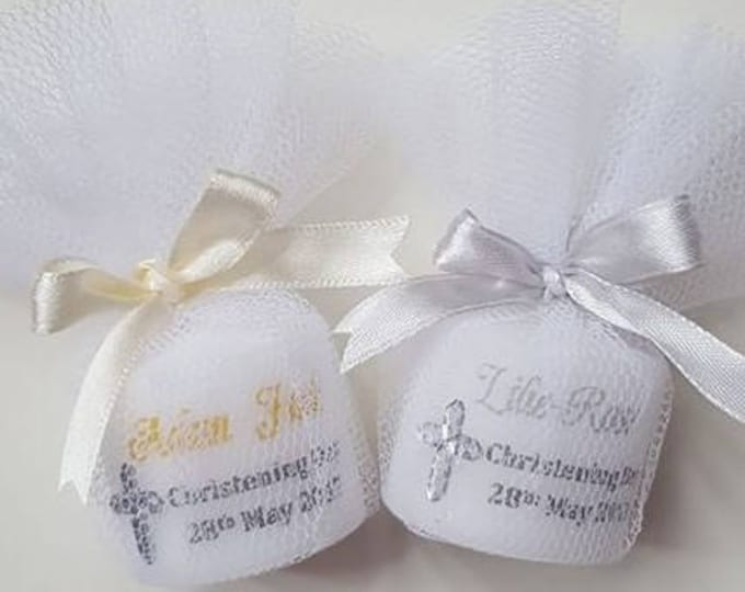 Christening Baptism  candle favours in tulle . Personalised candle.