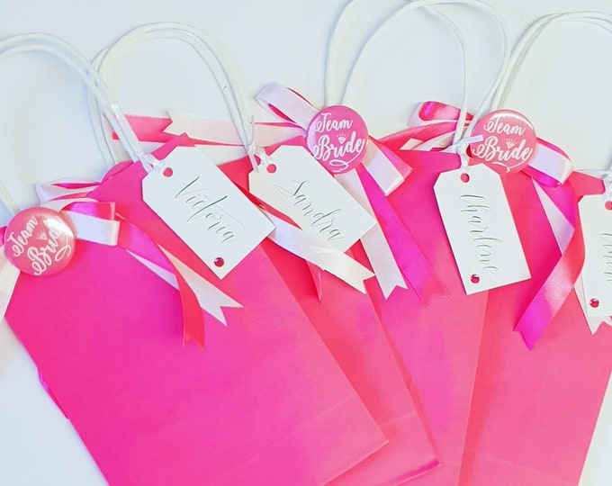 Personalised Hen party Bachelorette Favour Bags Team bride Pink Team Bride Badge Hens