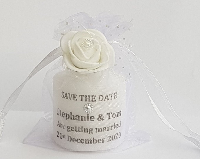 Save the Date Personalised Candle in Organza Bag Invitation Wedding Baby Shower Party