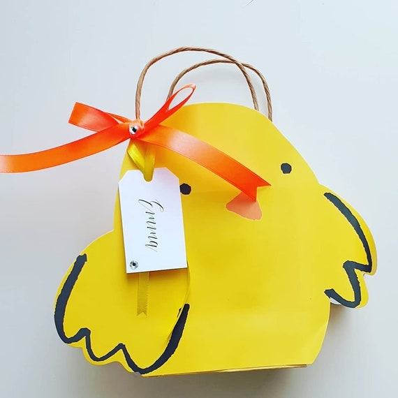 Easter Egg Hunt Favour Bags Kids Party Chick Personalised Tag Birthday Celebration
