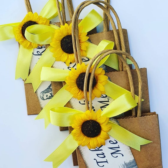 Brown Kraft  Favour Bags with Sunflower Baby Shower Weddings Party Gift Bags (Qty 10)