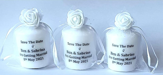 Save The Date Personalised Candle in Organza Bag Invitation Wedding Baby Shower Party Favours Keepsake (Qty 1)