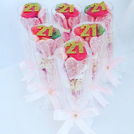 21st Birthday Party Favours Champagne Glass Candy Sweets  16th 18th 40th 50th  (qty 1)