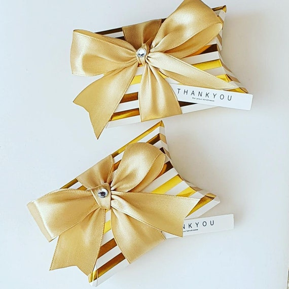 Gold Stripe Favour Pillow Boxes Wedding Golden Anniversary 50th Party Gift Keepsake (Qty 10)