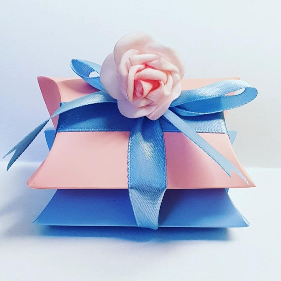 10 x Stacked Pillow Box Favours Baby Shower Gender Reveal Prefilled Favours Tealights Chocolates