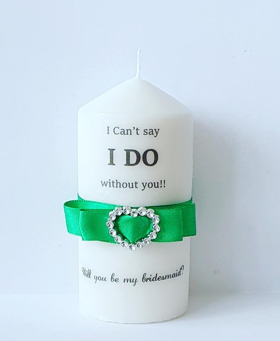 Bridesmaid Proposal Pillar Candle Personalised Dior Bow Keepsake Wedding Bridal Shower (Qty 1)
