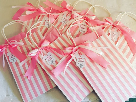 Candy Striped Baby Shower Favour Bag Favour tag Pink or Blue