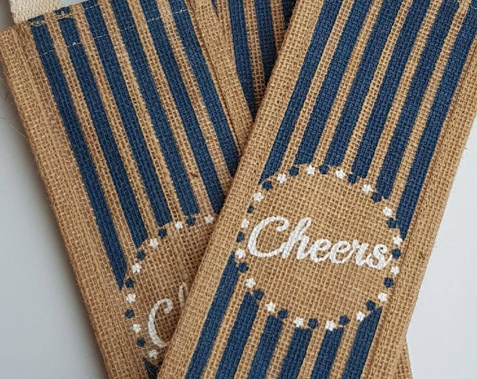Hessian bottle bag with handle fathers day gift favour bag