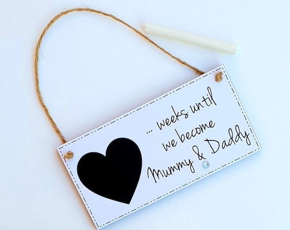 Baby Countdown Chalkboard Plaque Pillow Box Mum to Be Baby Shower Grandparents Gift