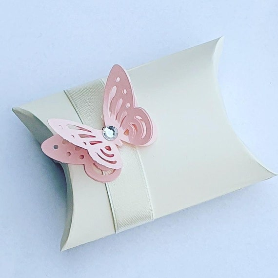 Ivory Pillow Box Favours with 3D Butterfly Wedding Baby Shower Bridal Anniversary Party (Qty 10)