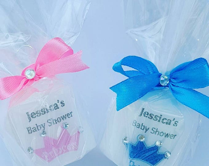 Prince and princess baby shower candle favours
