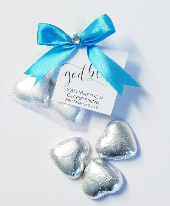 Baptism Favour Belgian Chocolate Hearts in Organza Bag Christenng Holy Communion (Qty 1)