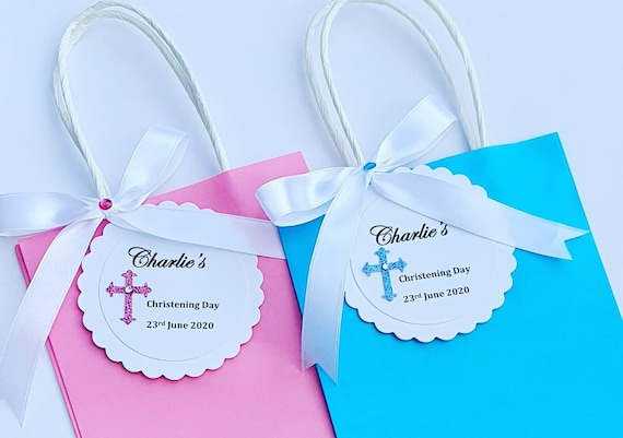 Mini  Favour Bags Personalised Christening Baptism Baby Shower Christening Holy Communion (Qty 5)