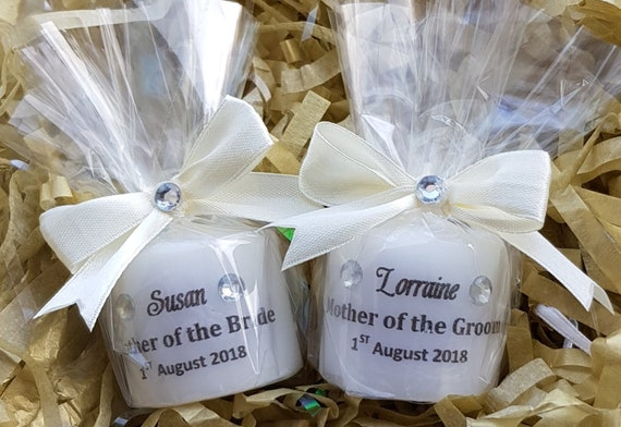 Mother of the Bride or Groom Personalised  Candle Favours Wedding Favours Keepsake