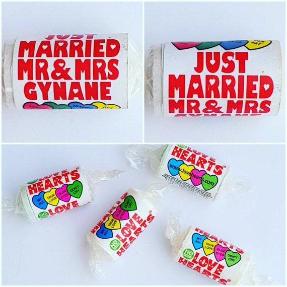 Love Hearts Personalised Sweet Favours Wedding Favours (25 -200 rolls)