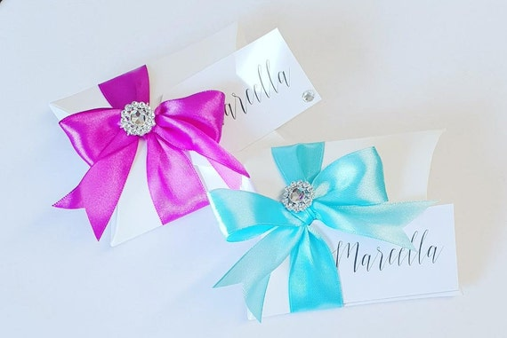 Luxury Pillow Box Favours Personalised Tag Wedding Baby Shower Birthday Party (Qty 1)