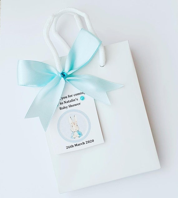 Luxury Mini White Baby Shower Favour Bag Rabbit Theme Personalised Tag Gender Reveal Party (Qty 10)