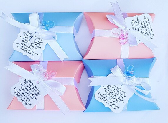 Baby Shower Favours Pillow Box  Prefilled Scented Tealight Candle . Gender Reveal (Qty 10)