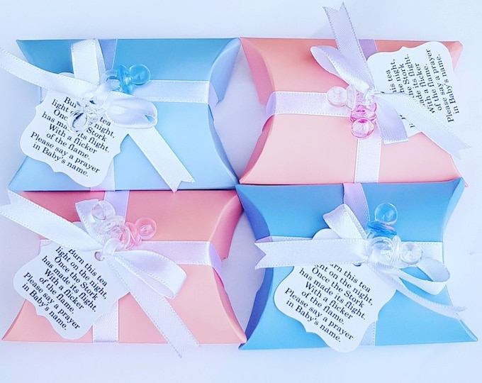 10 Blue or pink baby shower pillow box favours  with scented tealight candle .