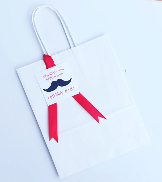 Male White Party Favour Bags Moustache Personalised Boy Gift (Qty 1)
