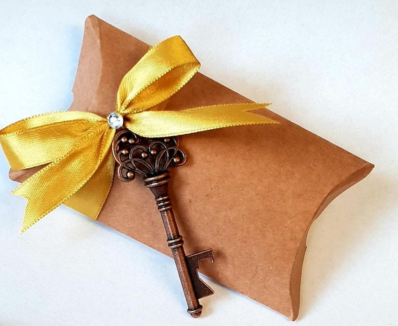 Kraft Pillow Box Skeleton Key Bottle Opener Rustic Wedding Favours