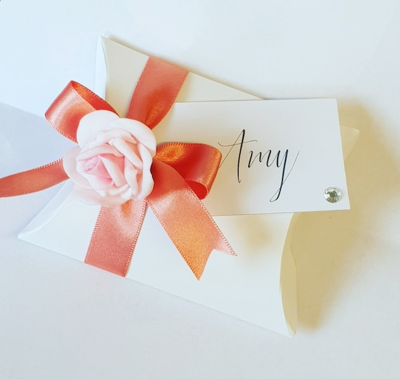 Personalised Luxury Pillow Box Favours Name Tag Wedding Bridal Shower Birthday Party (Qty 10)