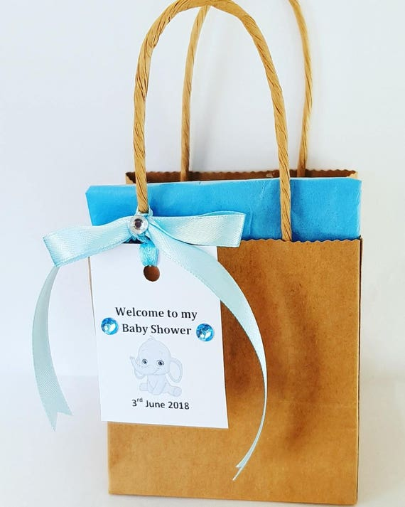 10 Kraft  Brown Favour Bags Baby Shower Welcome Bags Personalised Elephant Gift Tag Gender Reveal