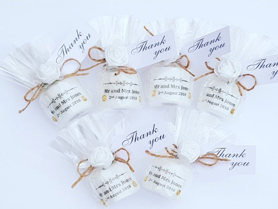 Wedding Favours Personalised Candle Rustic Shabby Chic Wedding Keepsake (Qty 1)