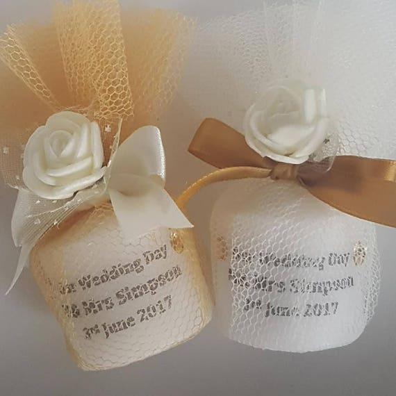 Personalised Wedding Candle Favours wrapped in Tulle. Gold, Silver or Ivory Wedding Favours