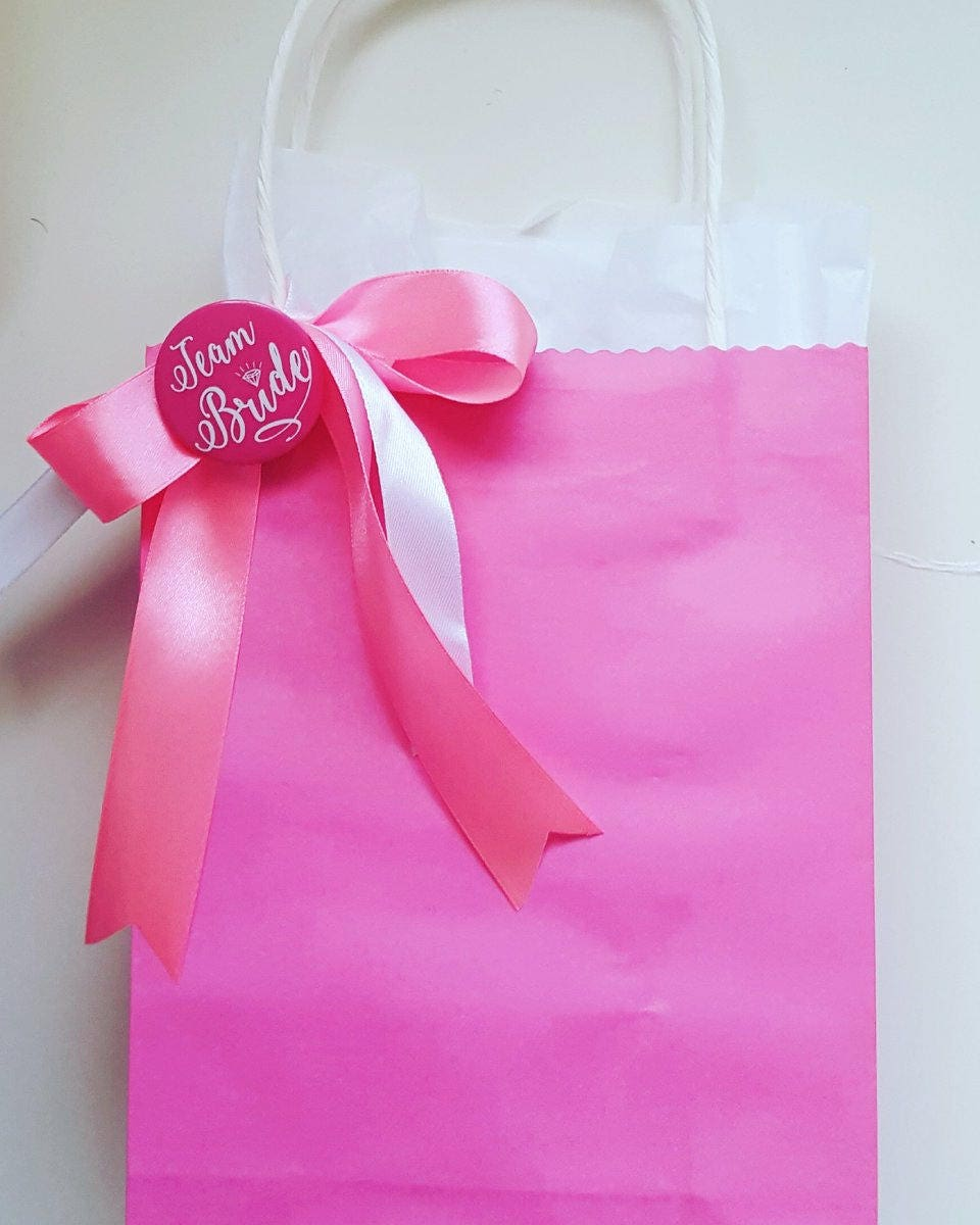 Hen party bachelorette favour bags team bride bright pink with ...