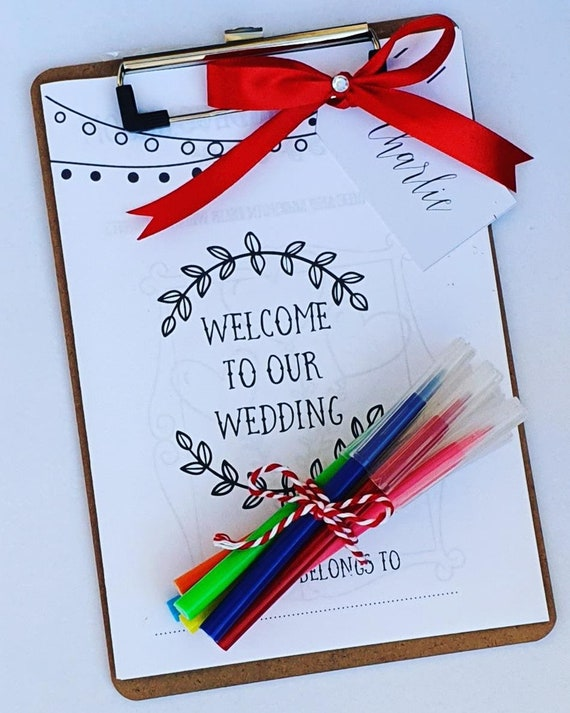 Childrens Wedding Personalised Activty Pack  A5 Wooden Clipboard Crayons Pens Favours (Qty 1)