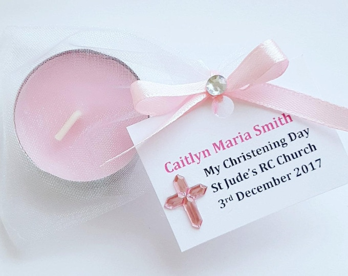Personalised christening baptism scented tealight candle favours